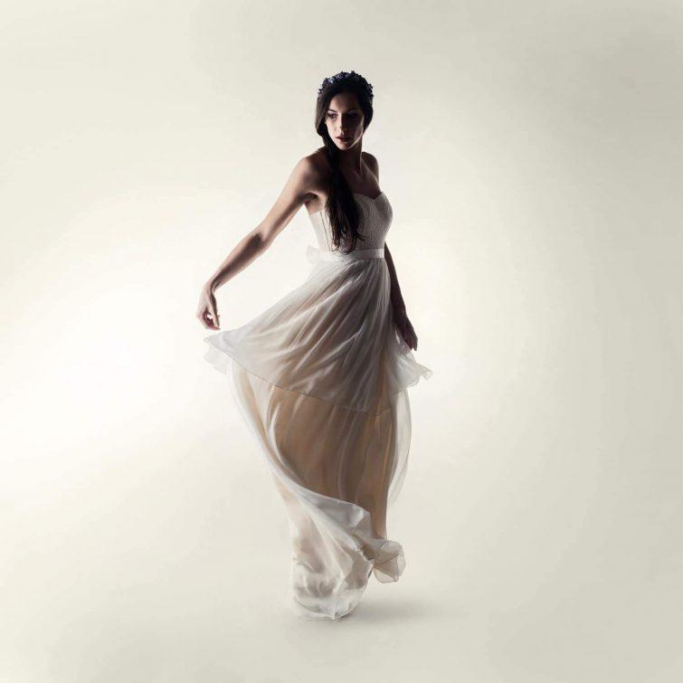 Lace silk layered wedding dress