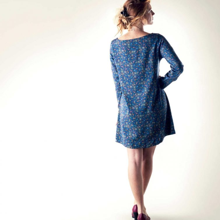 Blue floral sweater dress