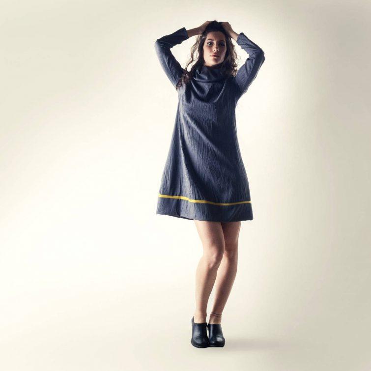 Grey cowl sweater dress