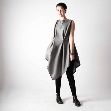 Grey Wool Asymmetrical Top