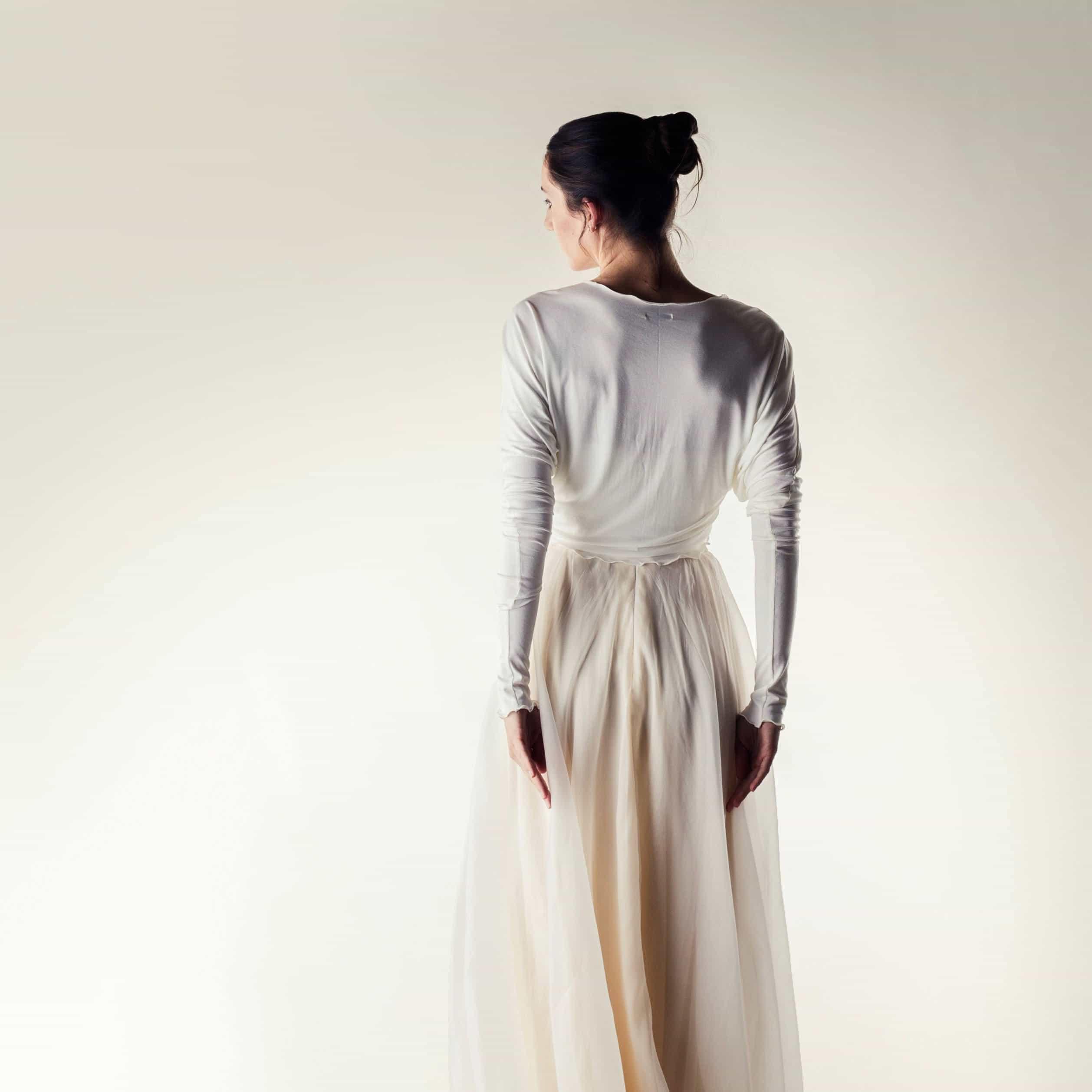 Long sleeve draped cardigan - Larimeloom handmade clothing