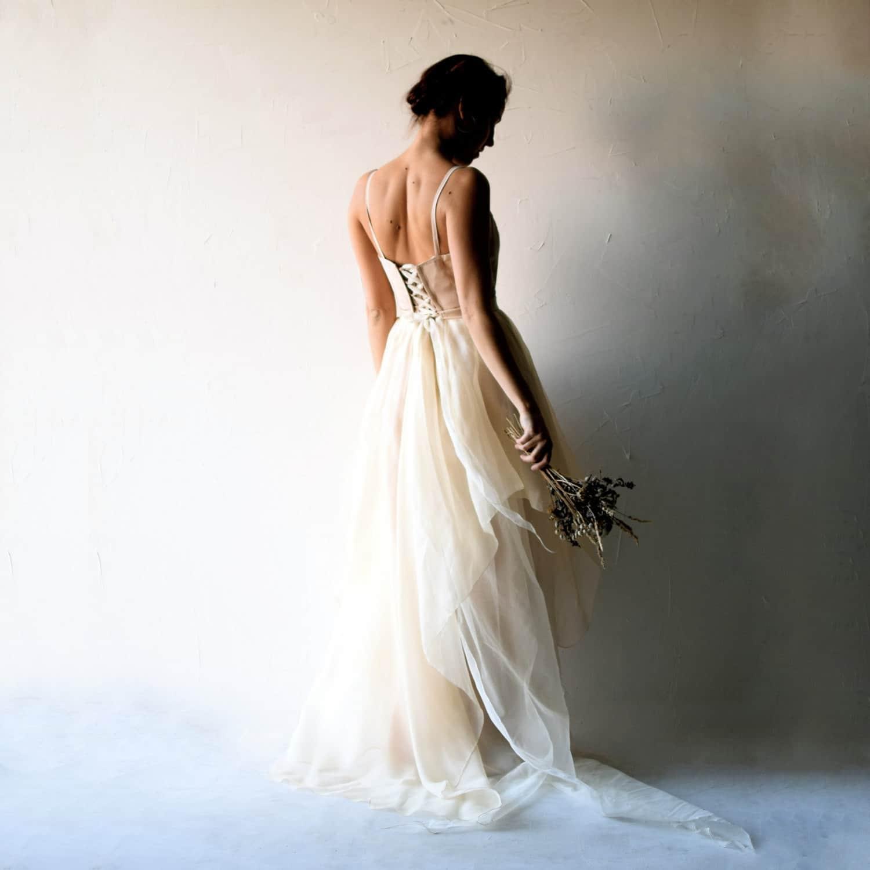 Blush draped silk wedding dress - Larimeloom Handmade Wedding Dress