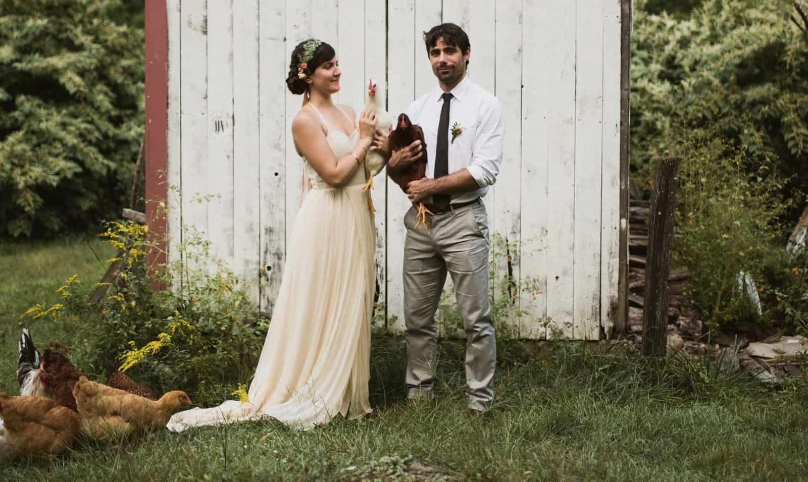 Lauren's farmhouse wedding wearing larimeloom