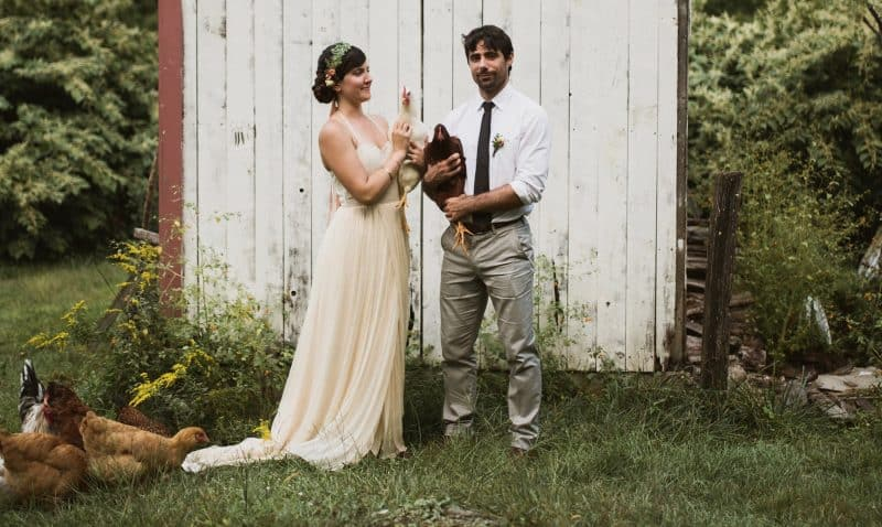 Lauren's farmhouse wedding wearing larimeloom