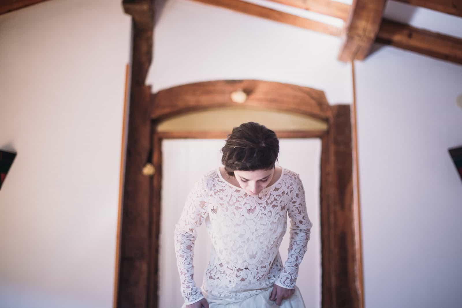 Spanish real bride wedding dress separates