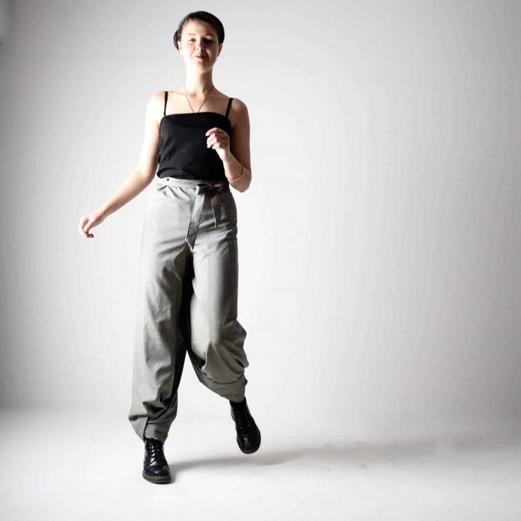 grey wool wrap pants