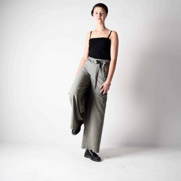 grey wool wrap pants