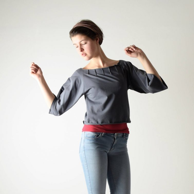Boxy pleated crop top