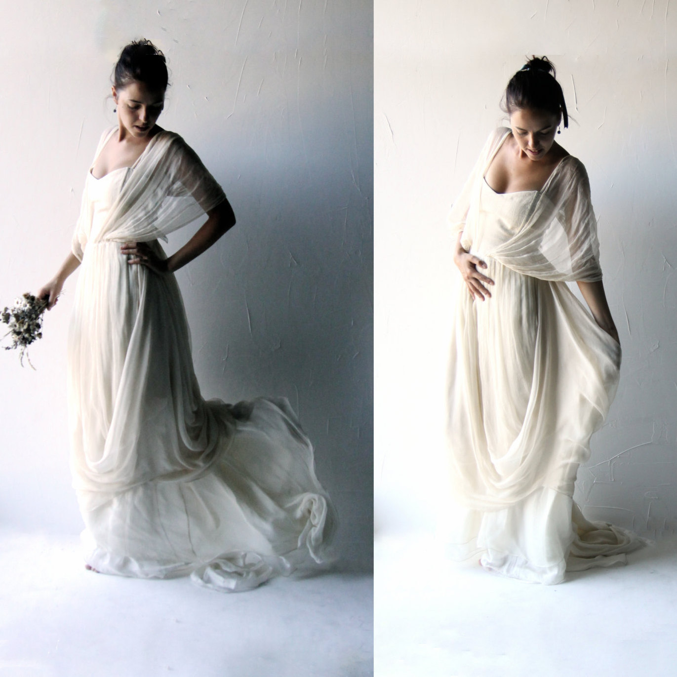 Papaver ~ Chiffon Bohemian Wedding Dress - Larimeloom Handmade Clothes