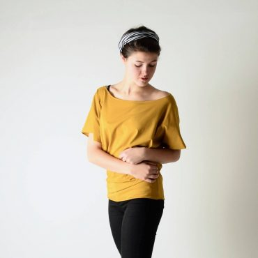 Draped batwing boat neck top