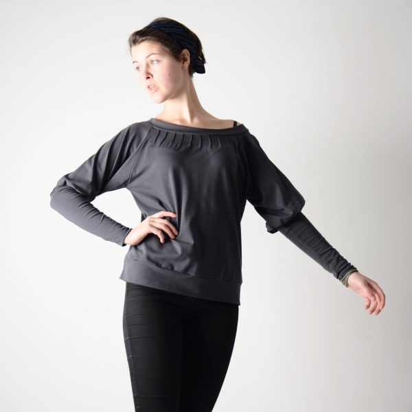 Boat neck sweatshirt with pin-tucks