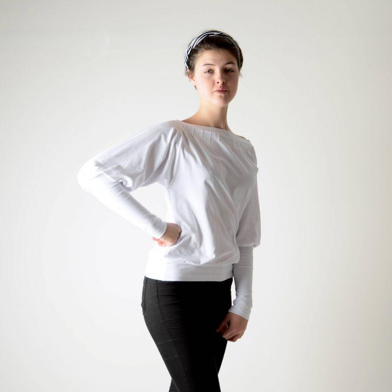 Boat neck sweatshirt with pin-tucks