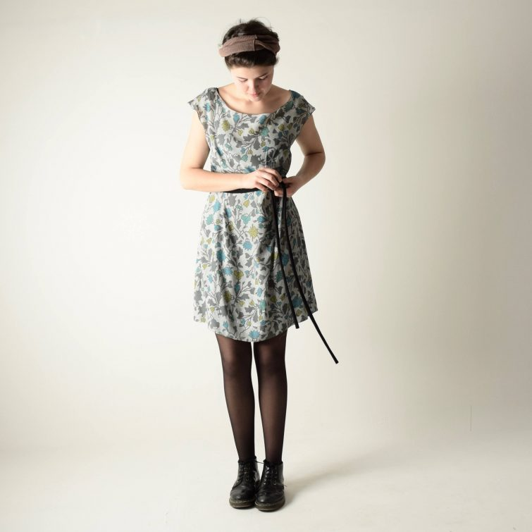 Grey floral Summer dress ~ Short sleeved tunic by Larimeloom