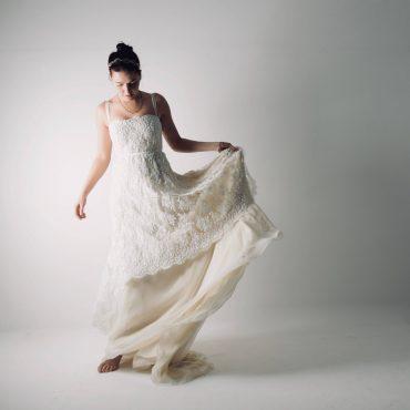 Clematis ~ Beaded lace Bohemian wedding dress