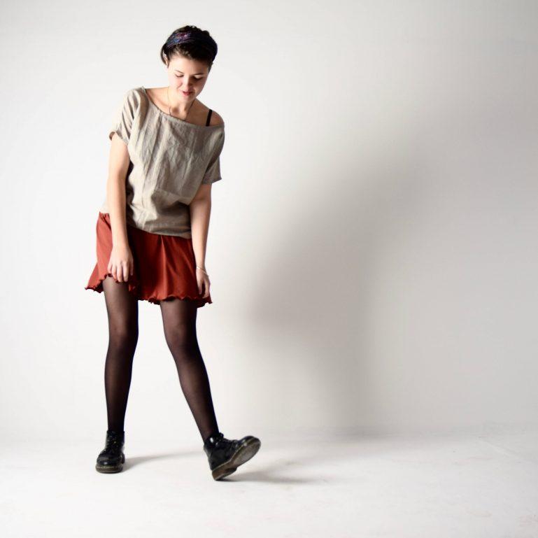 Beige linen short sleeve blouse