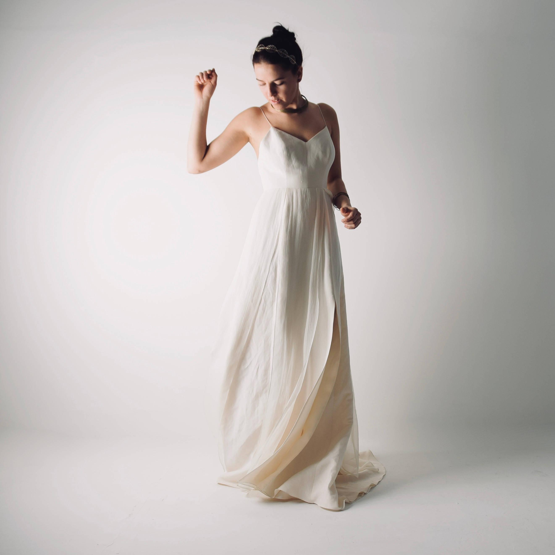 Echinacea linen modern wedding simple wedding dress by for Simple modern wedding dress