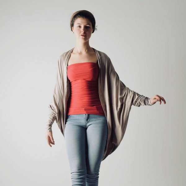 Draped long sleeve cardigan