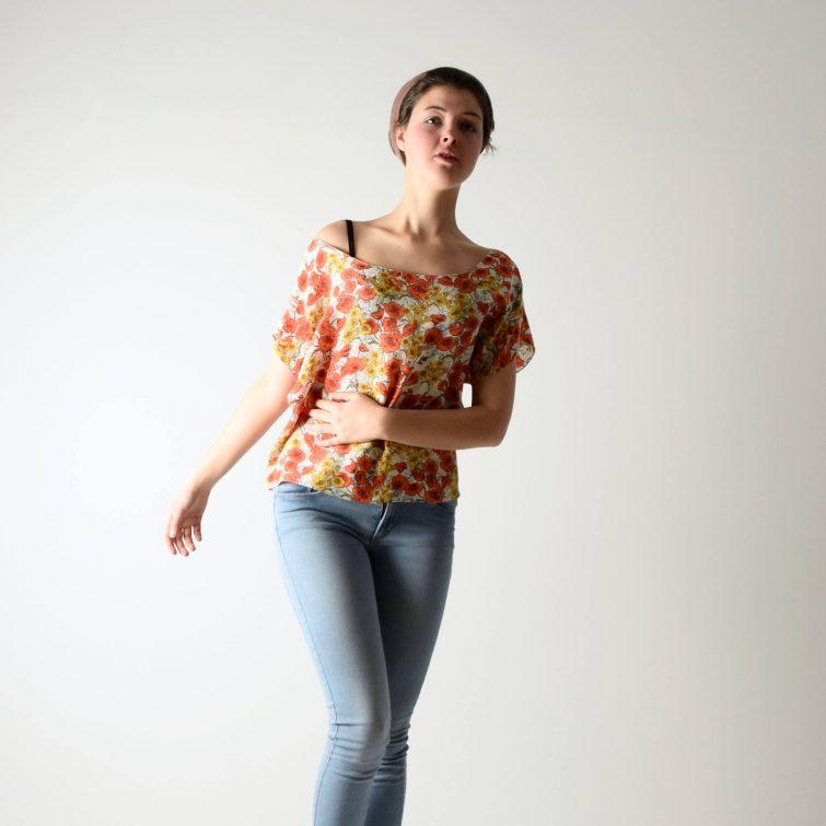 Poppies printed silk blouse