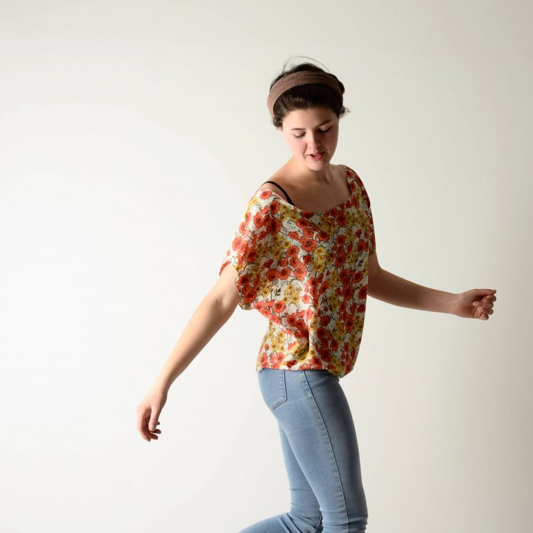 Poppies printed silk blouse