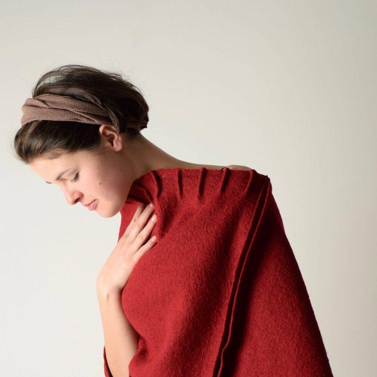 Ruffled Wool Poncho