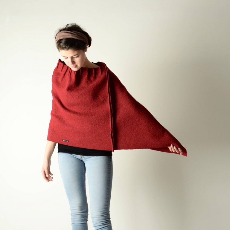 Ruffled Wool Poncho