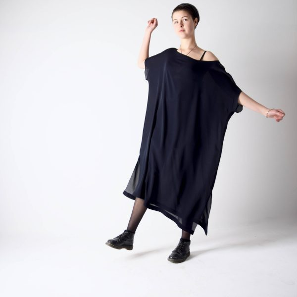 Navy blue silk Kaftan dress