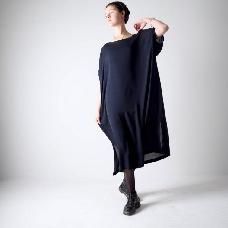 Navy blue silk Kaftan dress