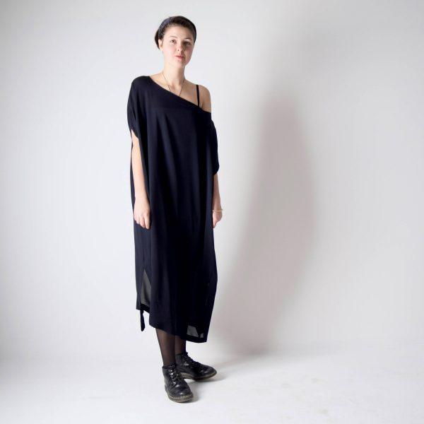 Navy Blue Silk Kaftan Dress Long Chiffon Dress Handmade By Larimeloom