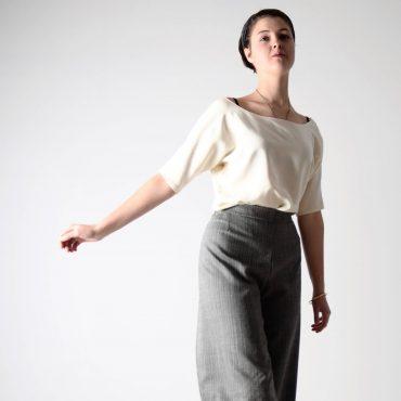 Elbow sleeve silk blouse