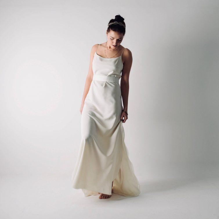 Saponaria ~ Simple Slip wedding dress ~ Silk bridal gown by Larimeloom