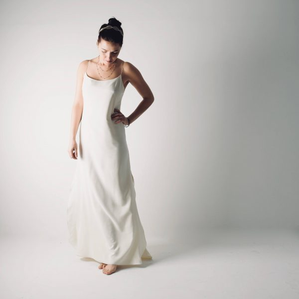Saponaria ~ Simple Slip wedding dress ~ Silk bridal gown by Larimeloom