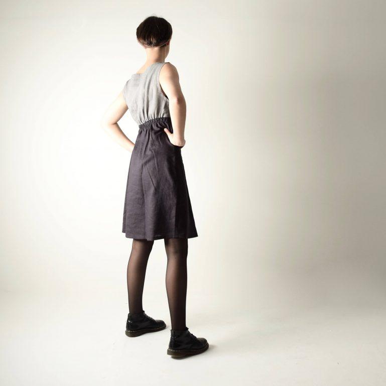 Two-color linen dress