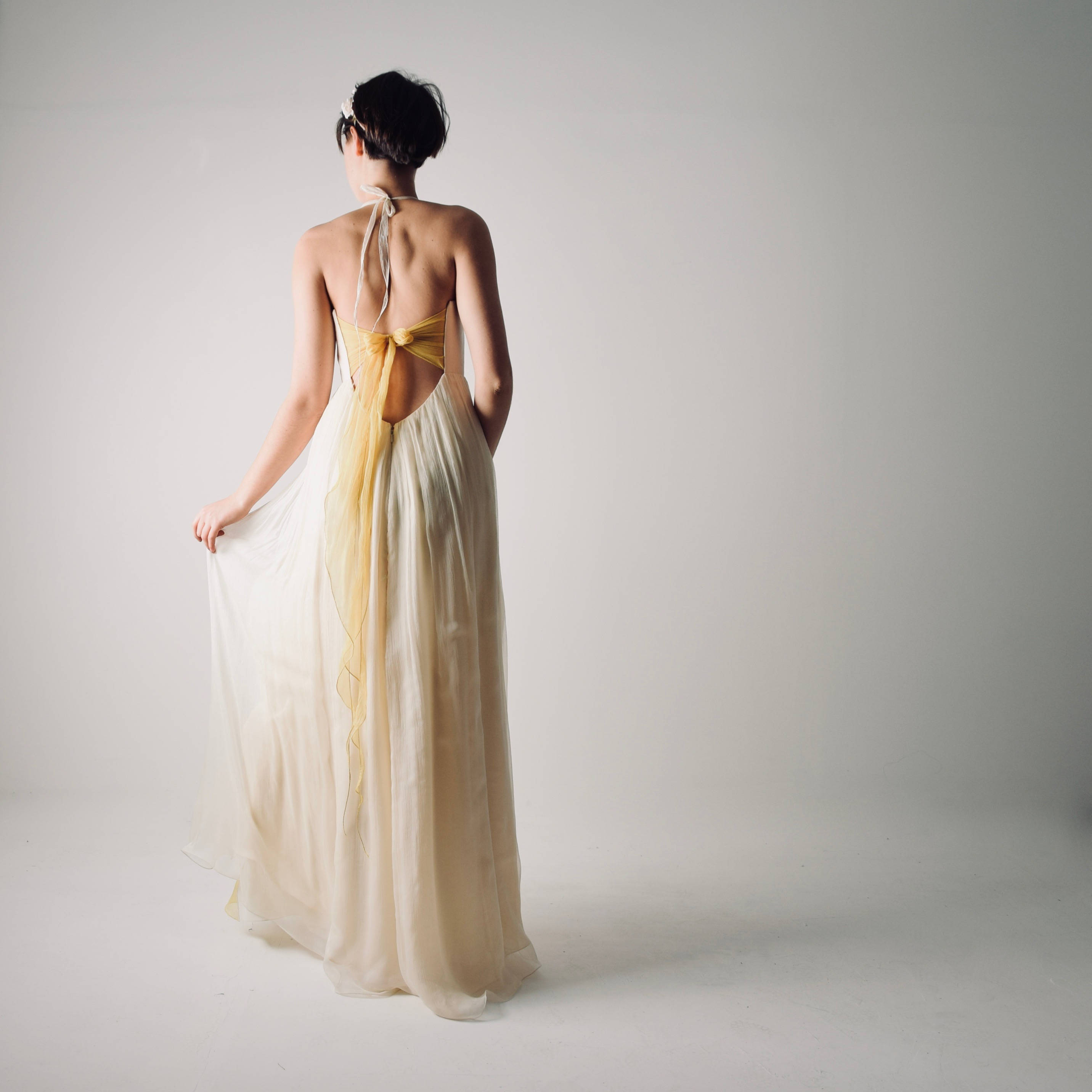 Narcissus summer backless wedding dress in ivory and yellow summer backless wedding dress junglespirit Images