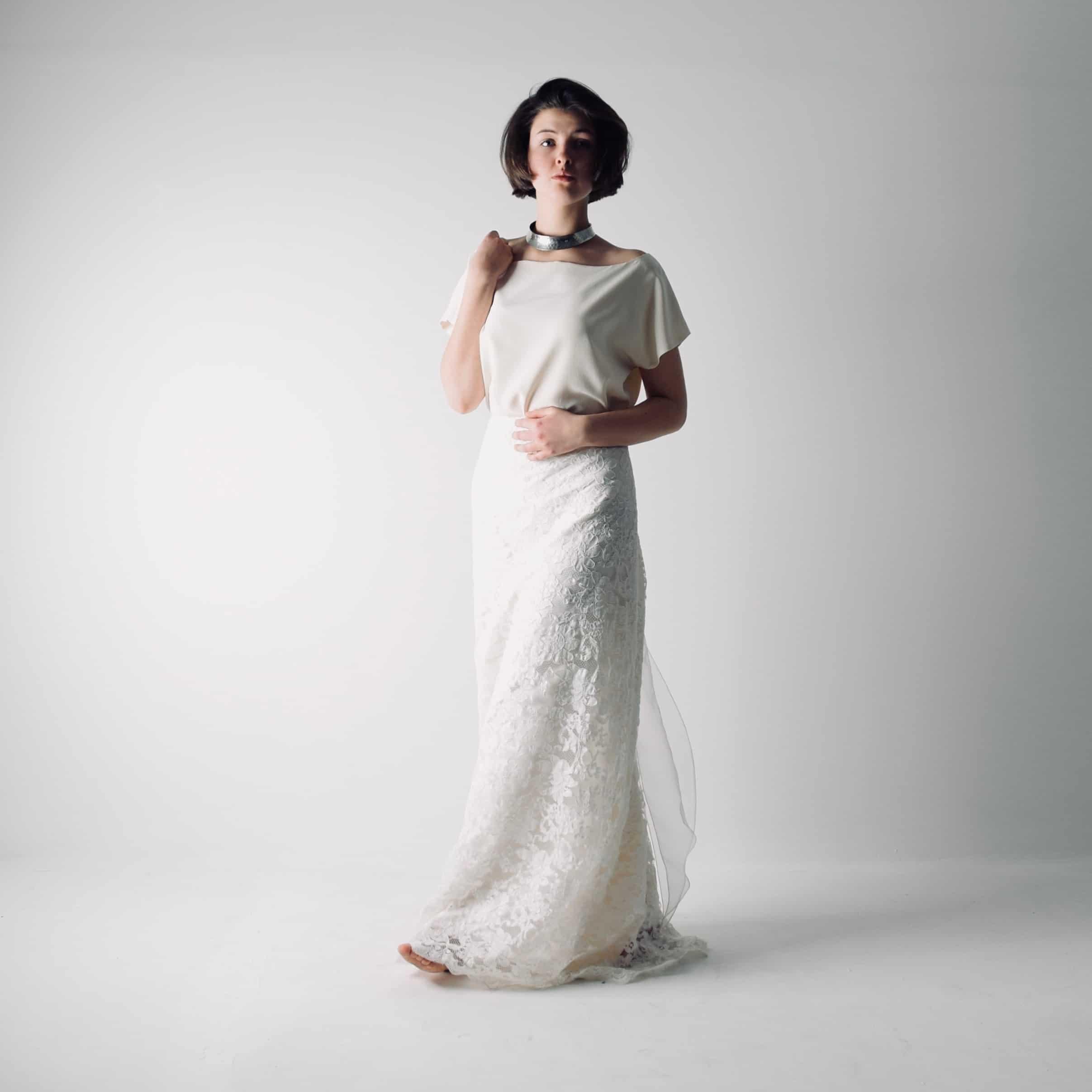Silk Wedding Dress.Foxglove Boho Lace Bridal Separates