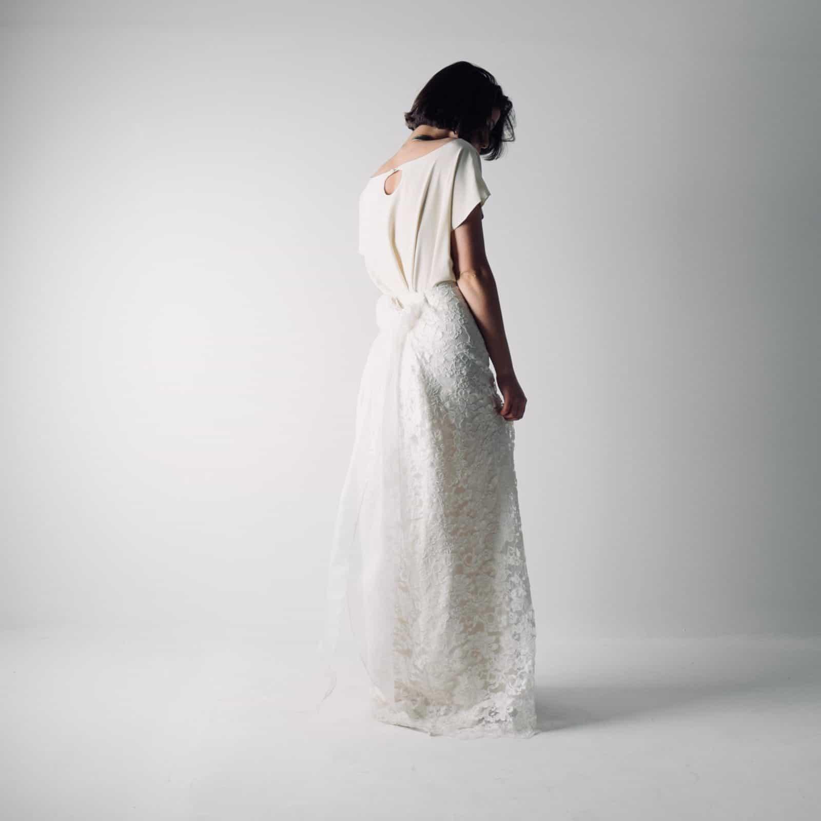 Foxglove ~ Lace and silk bridal separates ~ Wedding dress by Larimeloom