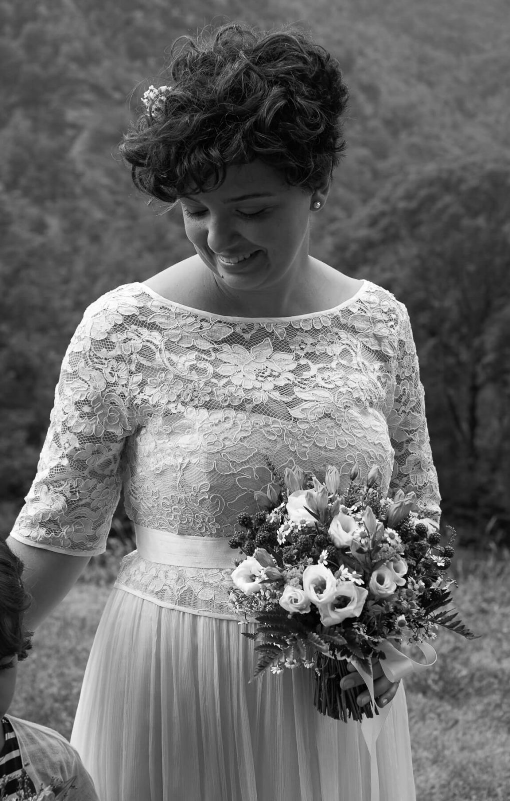 Lucia's Mountain wedding ~ A real bride wearing Larimeloom