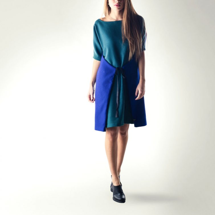 Blue Wrap Sweater dress