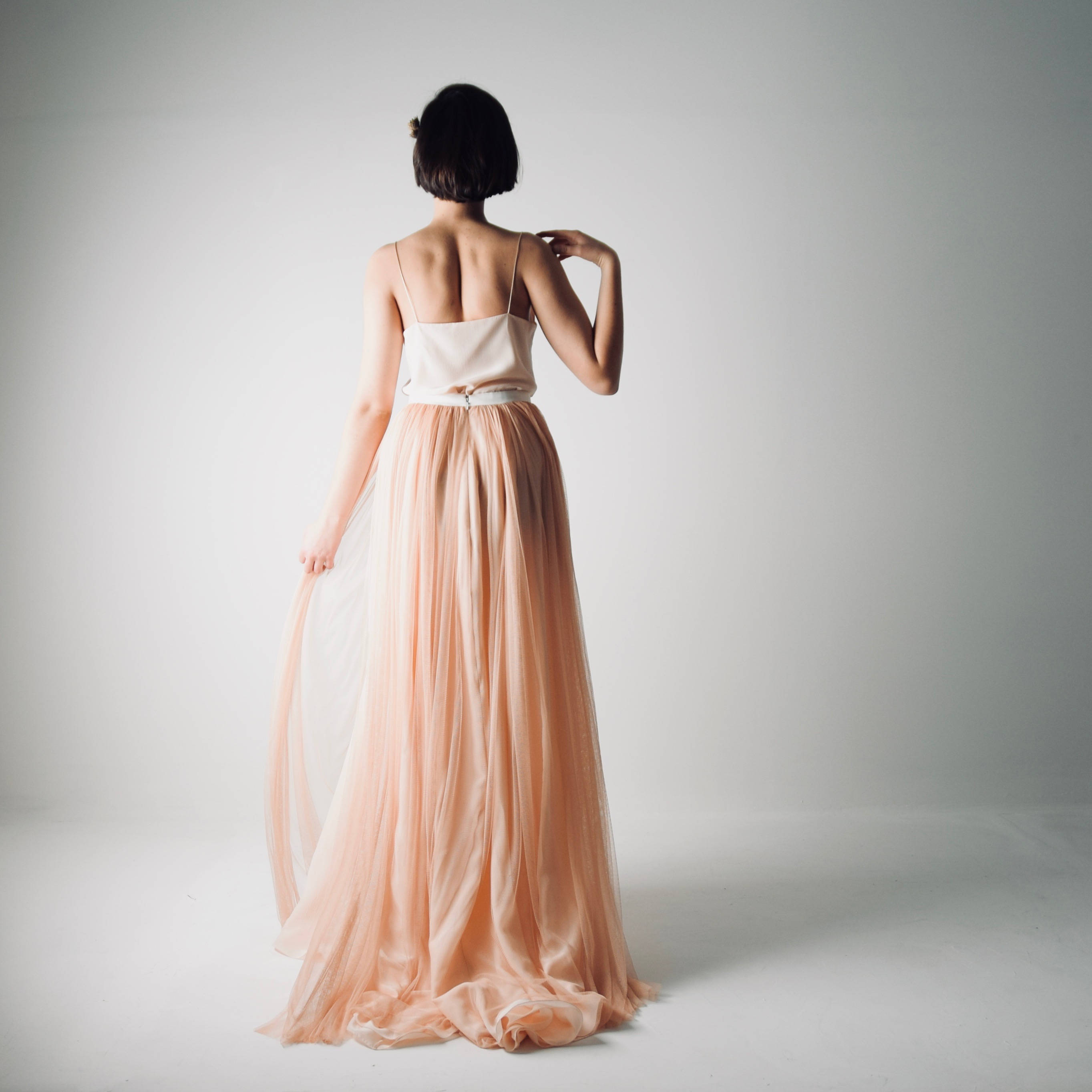 Blush wedding dress separates ~ Tulle and silk skirt and top, Larimeloom