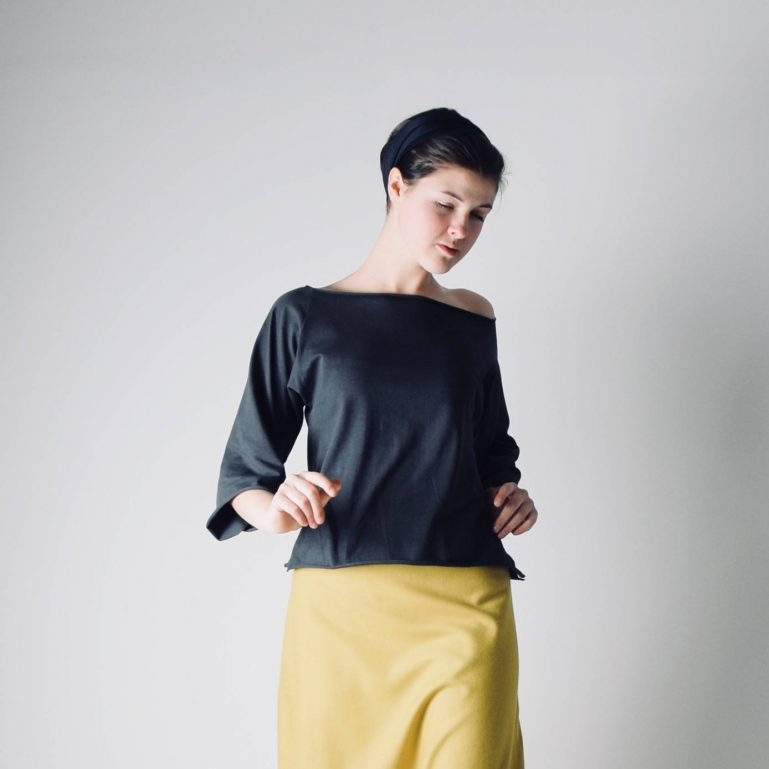 Boat neck top with elbow sleeves