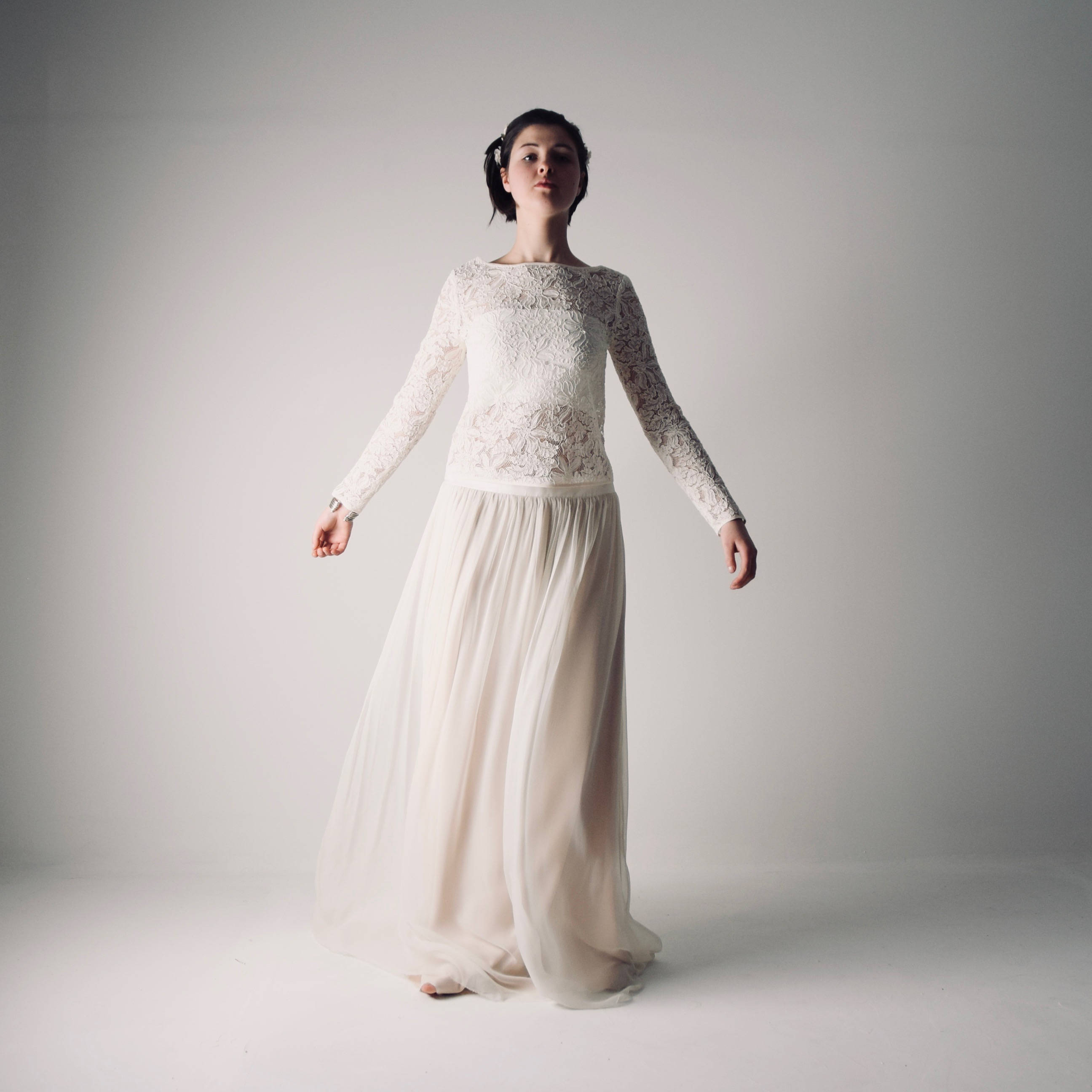 d8c3cfe2b9bf Hippie Wedding dress with sleeves ~ Bridal separates by Larimeloom ...