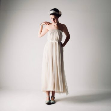 Pulsatilla ~ Boho Tea length wedding dress ~ Silk gown by Larimeloom