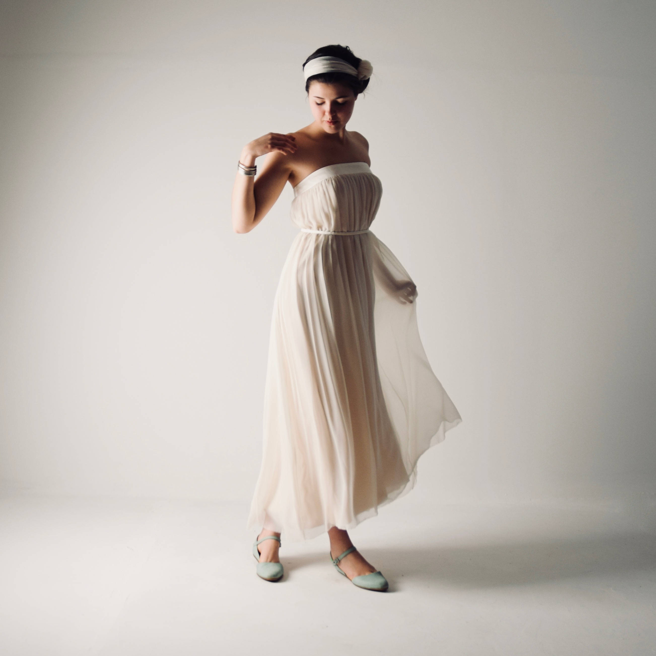 Pulsatilla ~ Boho Tea length wedding dress ~ Silk gown by Larimeloom
