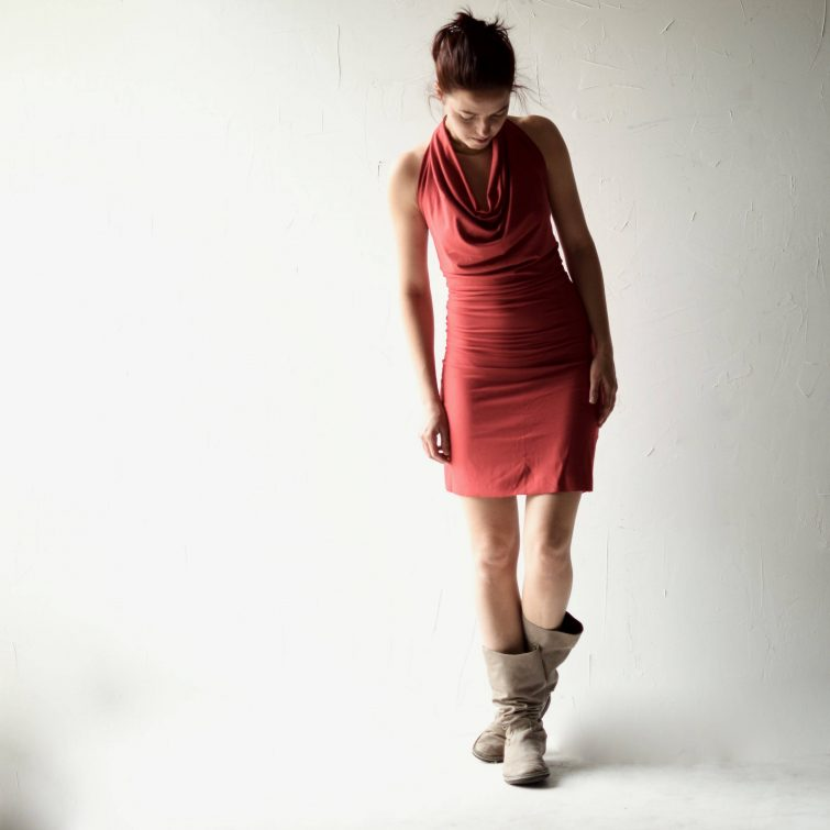 Fitted cotton halter dress is a draped backless dress made of soft ad stretchy jersey, draped on top and fitted in the skirt. Custom made in your size and color choice. Custom clothing by Larimeloom