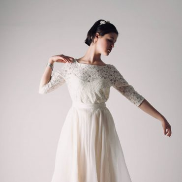 Lace wedding top ~ Long sleeve bridal separate by Larimeloom