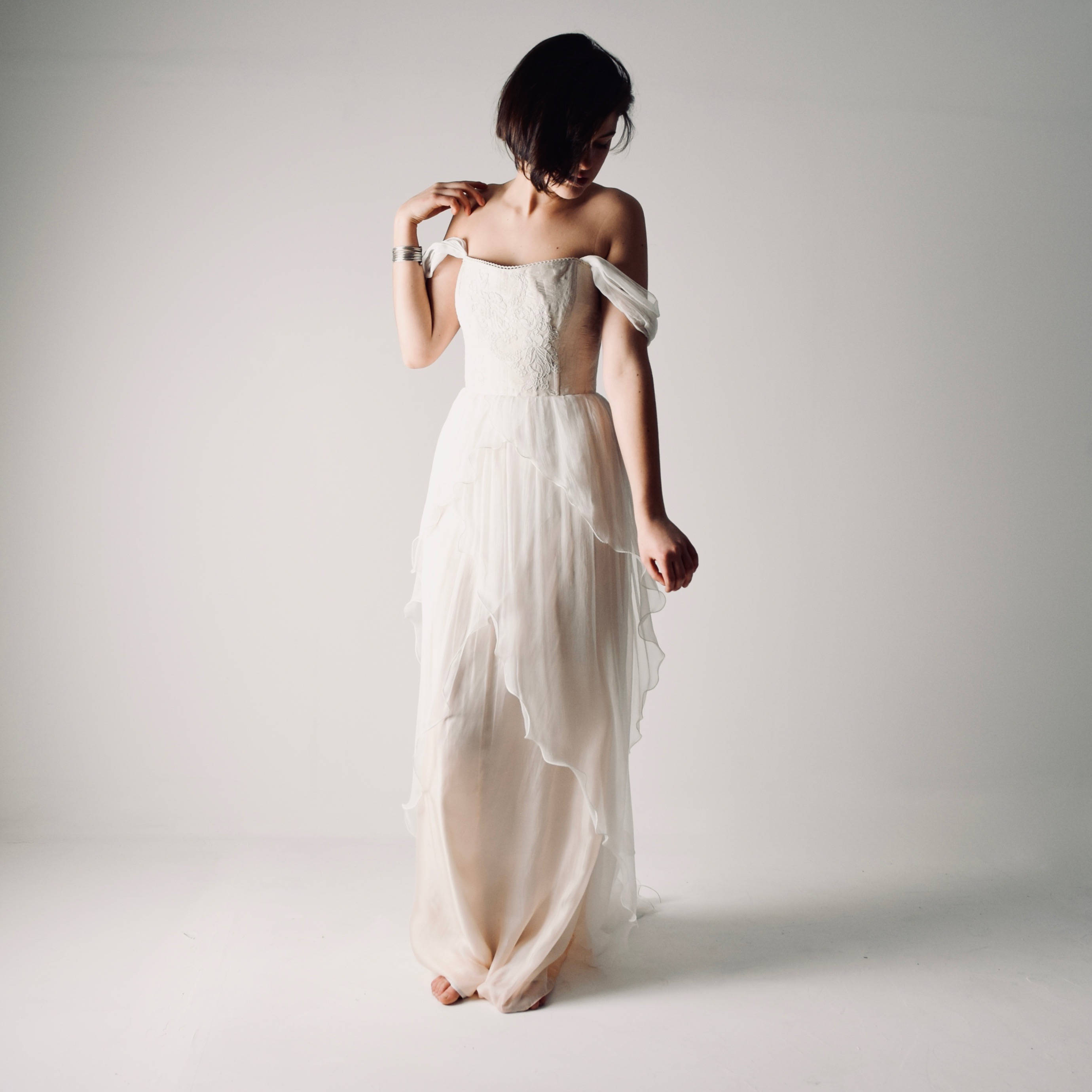 Anthericum ~ Layered Chiffon Wedding Dress - Larimeloom