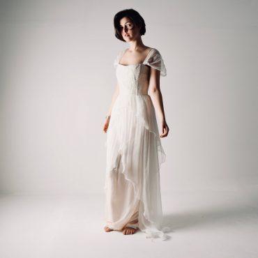 abito da sposa cipria in chiffon
