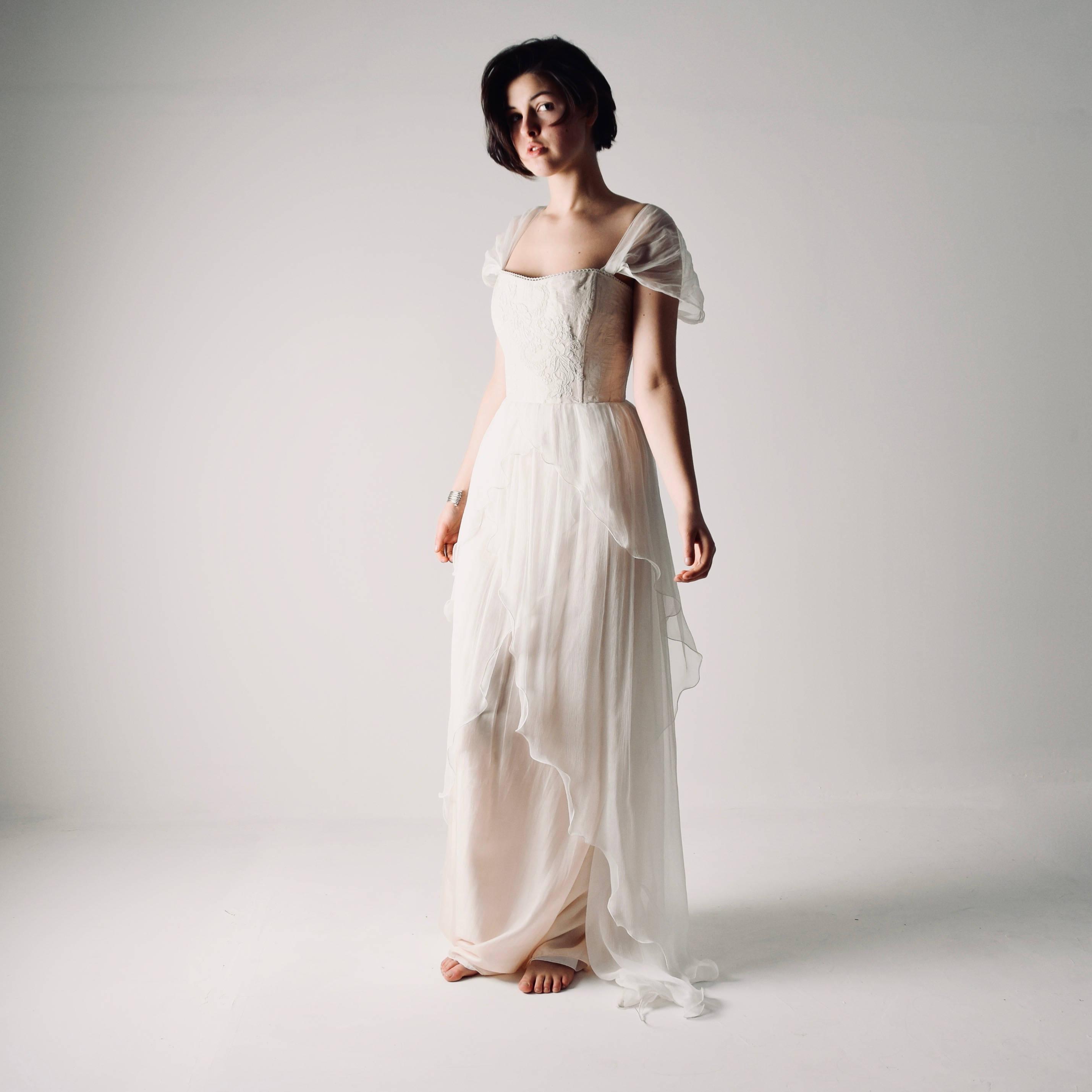 Anthericum ~ Layered Chiffon Wedding Dress - Larimeloom