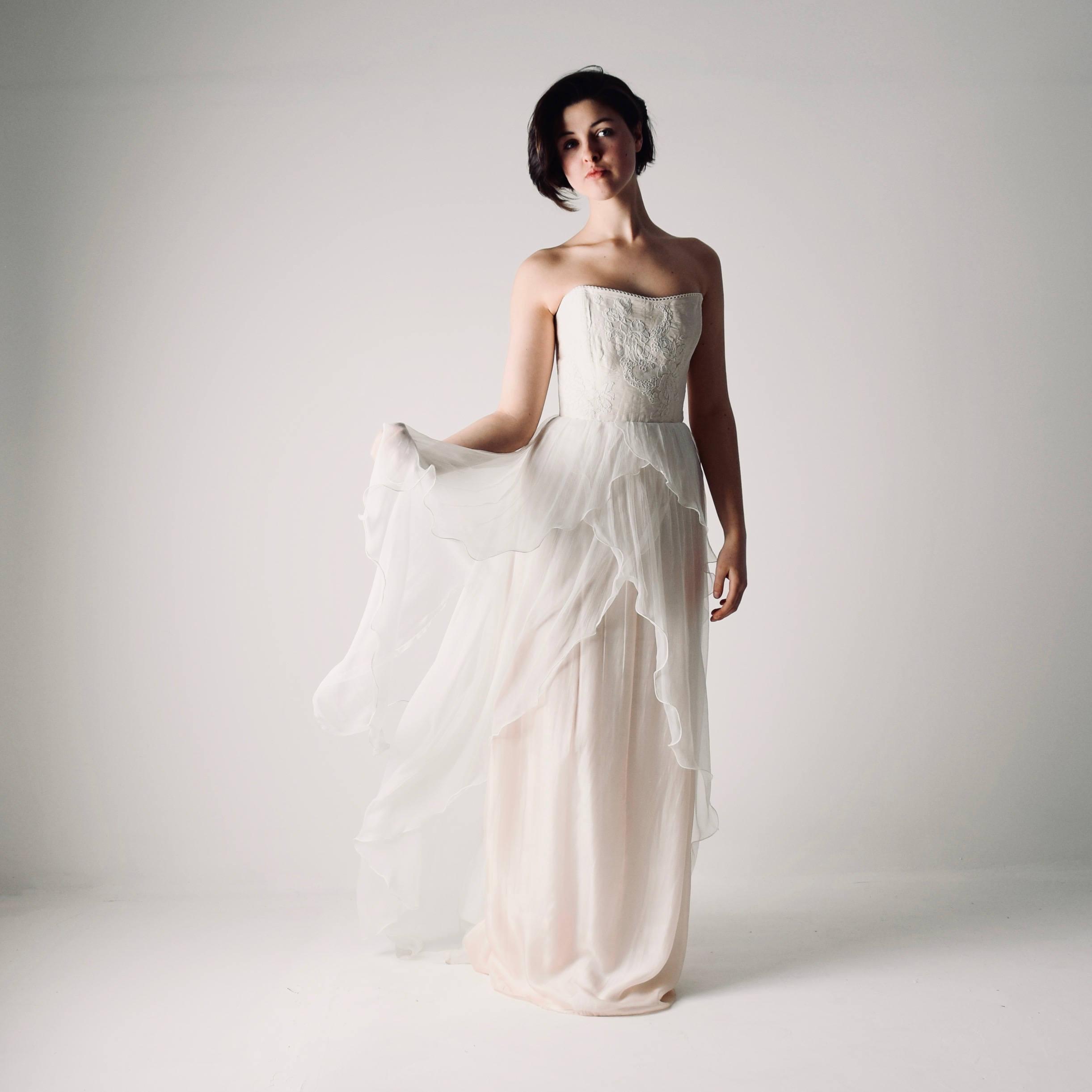 anthericum layered chiffon wedding dress larimeloom
