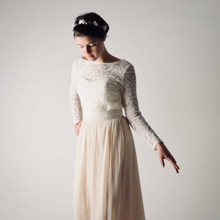 Long sleeve lace wedding top ~ Lace wedding dress separates