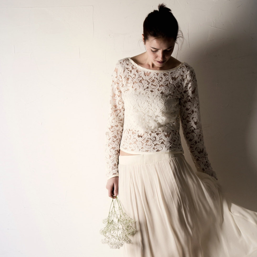 Long Sleeve Lace Wedding Top Lace Wedding Dress Separates